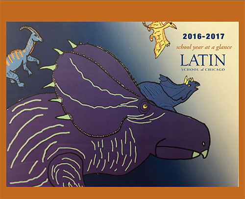 2016-17 wall calendar with cover of student drawing of dinosaurs